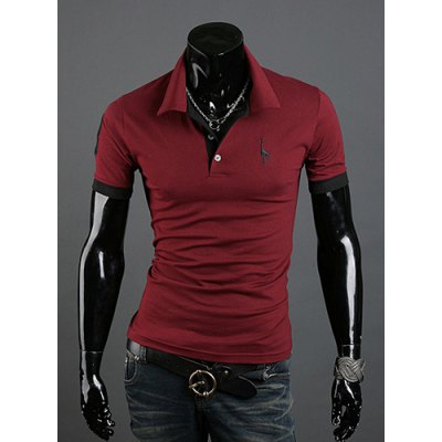Turn-down Collar Slimming Solid Color Animal Print Short Sleeves Polyester Polo Shirt