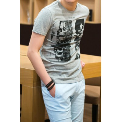Simple Style Solid Color Round Neck Character Skulls Print Short Sleeves Men's Cotton Blend T-Shirt