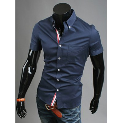 ФОТО Casual Style Shirt Collar Ribbon Embellished Slimming Fit Short Sleeves Polyester Shirt For Men