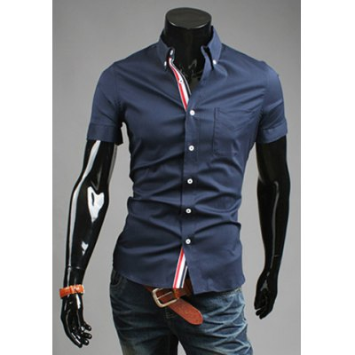 Shirt Collar Slimming Fit Short Sleeves Polyester Shirt