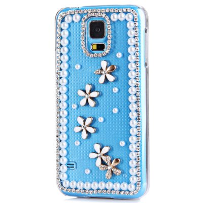 ФОТО Artificial Diamond Looking Flowers Pattern Transparent Plastic Case for Samsung Galaxy S5 i9600 SM - G900