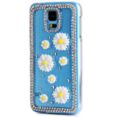 ФОТО Artificial Diamond Looking White Flowers Pattern Transparent Plastic Case for Samsung Galaxy S5 i9600 SM - G900