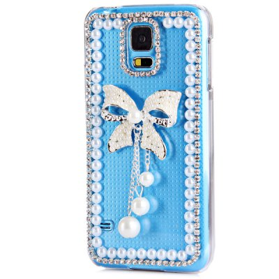Гаджет   Artificial Diamond Looking Bowknot Pattern Transparent Plastic Case for Samsung Galaxy S5 i9600 SM - G900 Samsung Cases/Covers