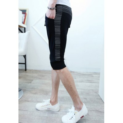 Casual Style Lace-Up Personality Ethnic Print Design Slimming Straight Leg Men's Cotton Blend Shorts