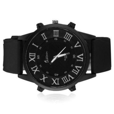 Exquisite Men Wrist Watch Analog with Round Dial Silicone Watch Band