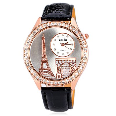 Delicate Leather Band Women Quartz Watch with Diamonds Tower Round DialWomens Watches<br>Delicate Leather Band Women Quartz Watch with Diamonds Tower Round Dial<br><br>Watches categories: Female table<br>Available color: Black<br>Style : Diamond<br>Movement type: Quartz watch<br>Shape of the dial: Round<br>Display type: Pointer<br>Case material: Steel<br>Case color: Gold<br>Band material: Leather<br>Clasp type: Pin buckle<br>Band color: Black<br>Special features: 12 hours of instruction<br>The dial thickness: 0.8 cm / 0.3 inch<br>The dial diameter: 4.3 cm / 1.7 inch<br>The band width: 1.8 cm / 0.7 inch<br>Product weight: 0.042 kg<br>Product size (L x W x H) : 24.3 x 4.3 x 0.8 cm / 9.6 x 1.7 x 0.3 inches<br>Package contents: 1 x Watch