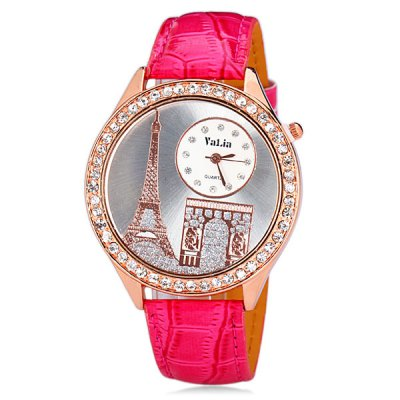 Delicate Leather Band Women Quartz Watch with Diamonds Tower Round DialWomens Watches<br>Delicate Leather Band Women Quartz Watch with Diamonds Tower Round Dial<br><br>Watches categories: Female table<br>Style : Diamond<br>Movement type: Quartz watch<br>Shape of the dial: Round<br>Display type: Pointer<br>Case material: Steel<br>Case color: Gold<br>Band material: Leather<br>Clasp type: Pin buckle<br>Special features: 12 hours of instruction<br>The dial thickness: 0.8 cm / 0.3 inch<br>The dial diameter: 4.3 cm / 1.7 inch<br>The band width: 1.8 cm / 0.7 inch<br>Product weight: 0.042 kg<br>Product size (L x W x H) : 24.3 x 4.3 x 0.8 cm / 9.6 x 1.7 x 0.3 inches<br>Package contents: 1 x Watch