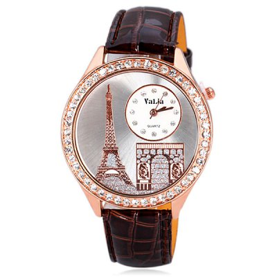 Delicate Leather Band Women Quartz Watch with Diamonds Tower Round DialWomens Watches<br>Delicate Leather Band Women Quartz Watch with Diamonds Tower Round Dial<br><br>Watches categories: Female table<br>Style : Diamond<br>Movement type: Quartz watch<br>Shape of the dial: Round<br>Display type: Pointer<br>Case material: Steel<br>Band material: Leather<br>Clasp type: Pin buckle<br>Special features: 12 hours of instruction<br>The dial thickness: 0.8 cm / 0.3 inch<br>The dial diameter: 4.3 cm / 1.7 inch<br>The band width: 1.8 cm / 0.7 inch<br>Product weight: 0.042 kg<br>Product size (L x W x H) : 24.3 x 4.3 x 0.8 cm / 9.6 x 1.7 x 0.3 inches<br>Package contents: 1 x Watch