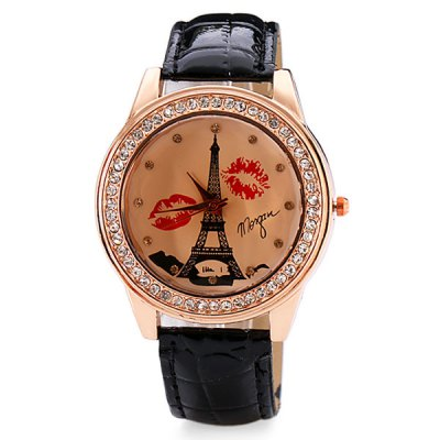 Гаджет   Delicate Leather Band Women Quartz Watch with Diamonds Tower and Lip Round Dial Women