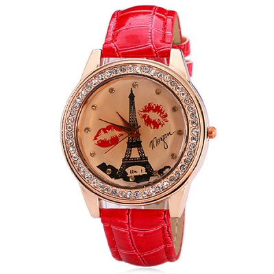 Delicate Leather Band Women Quartz Watch with Diamonds Tower and Lip Round DialWomens Watches<br>Delicate Leather Band Women Quartz Watch with Diamonds Tower and Lip Round Dial<br><br>Watches categories: Female table<br>Available color: Red<br>Style : Diamond<br>Movement type: Quartz watch<br>Shape of the dial: Round<br>Display type: Pointer<br>Case material: Steel<br>Case color: Gold<br>Band material: Leather<br>Clasp type: Pin buckle<br>Band color: Red<br>Special features: 12 hours of instruction<br>The dial thickness: 0.8 cm / 0.3 inch<br>The dial diameter: 4.3 cm / 1.7 inch<br>The band width: 1.8 cm / 0.7 inch<br>Product weight: 0.042 kg<br>Product size (L x W x H) : 24.5 x 4.3 x 0.8 cm / 9.6 x 1.7 x 0.3 inches<br>Package contents: 1 x Watch