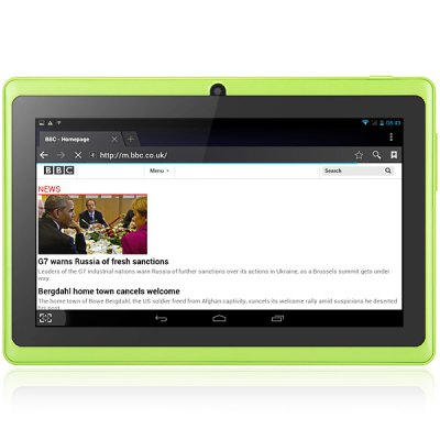 Q88 Android 4.2 Cheap Tablet PC with 7 inch WVGA Screen A23 Dual Core 1.2GHz Dual Cameras WiFi 4GB ROM Bluetooth