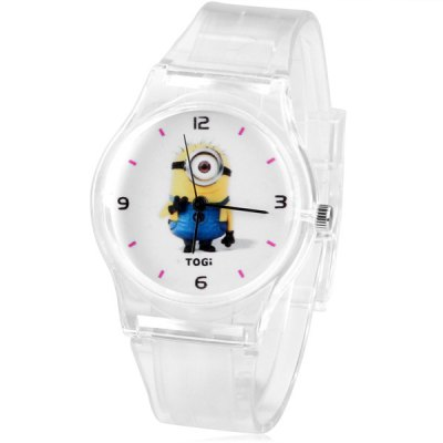 Watch with Bee-do Patterned Round Dial and Transparent Rubber Band for Children