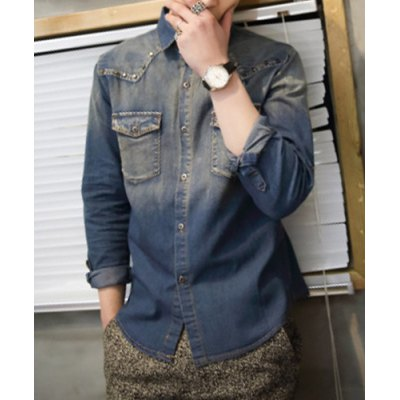 Гаджет   Slimming Trendy Turn-down Collar Solid Color Rivets and Pockets Embellished Long Sleeves Men