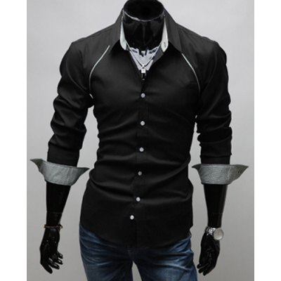 Гаджет   Korean Style Turn-down Collar Solid Color False Raglan and Checked Embellished Long Sleeves Men