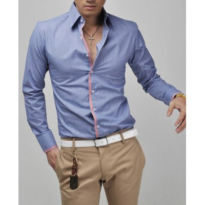 Гаджет   Casual Style Turn-down Collar Slimming Hit Color Checked Edging Long Sleeves Men