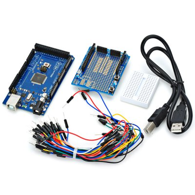 2560 R3 Development Board Kit for Arduino with ProtoShield V3 Expansion Board Bread Board Jumper Cables