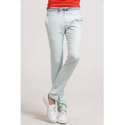 Гаджет   Casual Style Lace-Up Slimming Colorful Rib Splicing Waist Solid Color Straight Leg Cotton+Linen Pants For Men