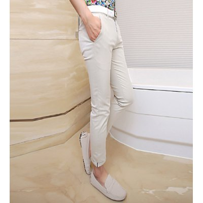 Гаджет   Slimming Trendy Zipper Fly Personality Waist Design Solid Color Crimping Narrow Feet Men