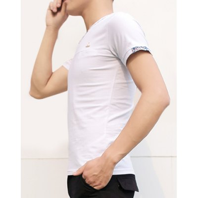 Гаджет   Simple Style Personality V-Neck Slimming Floral Print Splicing Cuffs Short Sleeves Men
