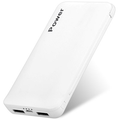 Гаджет   Dual USB Outputs 6500mAh External Battery Mobile Power Bank Built-in Micro USB Cable iPhone Power Bank