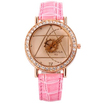 Rosivga Delicate Leather Band Women Quartz Watch with Diamonds Geometric Figure Round DialWatches &amp; Jewelry<br>Rosivga Delicate Leather Band Women Quartz Watch with Diamonds Geometric Figure Round Dial<br><br>Brand: Rosivga<br>Watches categories: Female table<br>Style : Diamond<br>Movement type: Quartz watch<br>Shape of the dial: Round<br>Display type: Pointer<br>Case material: Steel<br>Case color: Beige<br>Band material: Leather<br>Clasp type: Pin buckle<br>Band color: Pink<br>Special features: Two needles<br>The dial thickness: 0.9 cm / 0.4 inch<br>The dial diameter: 3.9 cm / 1.5 inch<br>The band width: 1.7 cm / 0.7 inch<br>Product weight: 0.035 kg<br>Product size (L x W x H) : 24.0 x 3.9 x 0.9 cm / 9.4 x 1.5 x 0.4 inches<br>Package contents: 1 x Watch