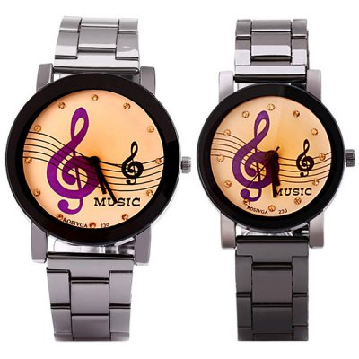 Rosivga Stylish Couple Watch Analog with Musical Note Round Dial Steel Watch BandCouples Watches<br>Rosivga Stylish Couple Watch Analog with Musical Note Round Dial Steel Watch Band<br><br>Brand: Rosivga<br>Watches categories: Couple tables<br>Watch style: Fashion<br>Available Color: Black<br>Shape of the dial: Round<br>Movement type: Quartz watch<br>Display type: Pointer<br>Case material: Stainless steel<br>Band material: Stainless steel<br>Clasp type: Buckle<br>Special features: Three needle<br>The male watch weight: 0.07 kg<br>The male watch size (L x W x H): 21.0 x 4.2 x 0.8 cm / 8.3 x 1.7 x 0.3 inches<br>The female watch weight: 0.06 kg<br>The female size (L x W x H): 19.0 x 3.5 x 0.8 cm / 7.5 x 1.4 x 0.3 inches<br>Package contents: 2 x Watch