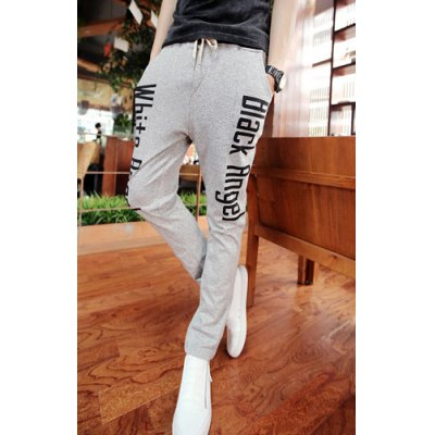 Гаджет   Fashion Style Lace-Up Solid Color Slimming Letters Print Simple Design Narrow Feet Men