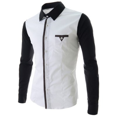 Гаджет   Fashion Style Turn-down Collar Color Block Splicing Slimming Personality Pocket Embellished Long Sleeves Men