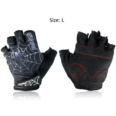 F036 2PCS Spider Web Design Bicycle Bike Gloves Half - finger Cycling Gloves