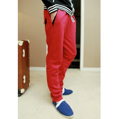 Гаджет   Casual Style Drawstring Color Block Design Slimming Personality Pocket Embellished Straight Leg Men