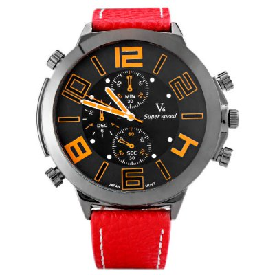 Гаджет   V6 Delicate Men Wrist Watch Analog with Big Round Dial Leather Watch Band