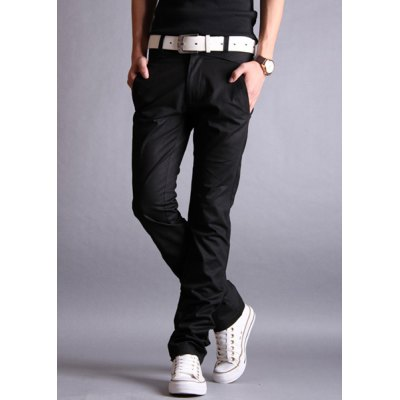 Гаджет   Simple Design Zipper Fly Solid Color Slimming Leather Splicing Narrow Feet Men