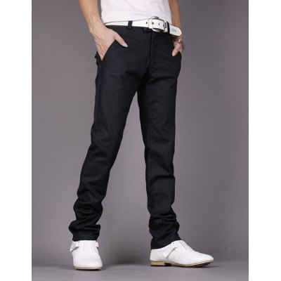 Fashion Style Personality Embellished Waist Zipper Fly Solid Color Slimming Straight Leg Men