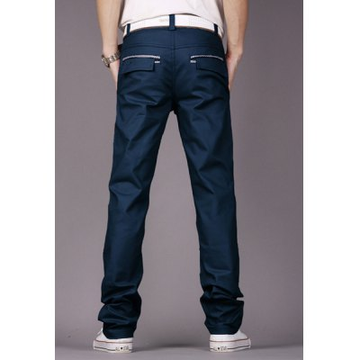 Гаджет   Fashion Style Personality Embellished Waist Zipper Fly Solid Color Slimming Straight Leg Men