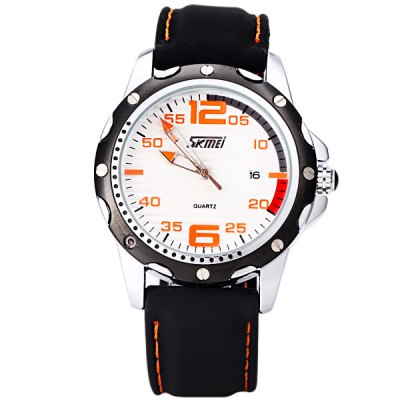 Гаджет   Skmei Special Men Wrist Watch Analog with Date Round Dial Silicone Watch Band Men