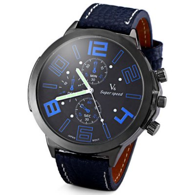 V6 Delicate Men Wrist Watch Analog with Big Round Dial Leather Watch Band