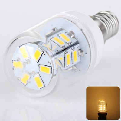 E14 24 x 5730 SMD LED AC220V Corn Lamp Silver Edge with Transparent Lamp Shade