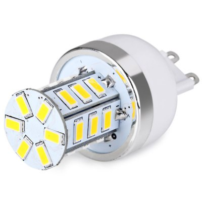 G9 24 x 5730 SMD LED AC220V Corn Lamp Silver Edge without Lamp Shade