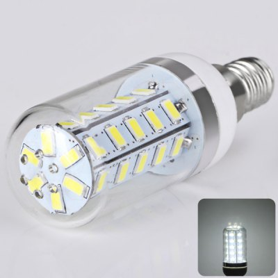 E14 36 x 5730 SMD LED AC220V Corn Lamp Silver Edge with Transparent Lamp Shade  -  White Light