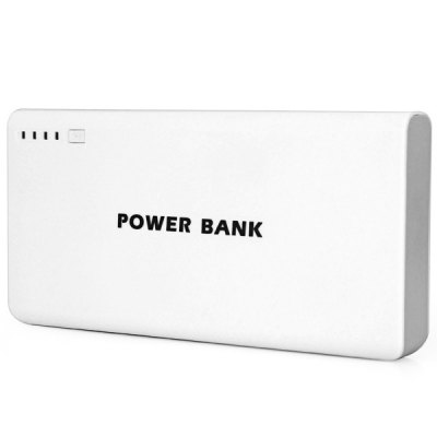 Practical 20000mAh Portable Mobile Power Bank of Dual USB Output and Flashlight Design