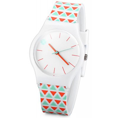 Fashion Women Watch with Triangle Analog Display Round Dial Rubber Watch Band