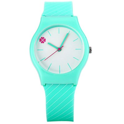 Fashion Women Watch with Oblique Stripe Analog Display Round Dial Rubber Watch Band
