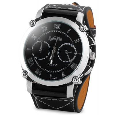 Unique Men Watch Analog with Date Big Round Dial Leather Watch Band