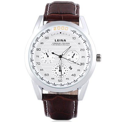 Water Resistant Stylish Men Watch Analog with Date Round Dial Genuine Leather Watch BandWatches &amp; Jewelry<br>Water Resistant Stylish Men Watch Analog with Date Round Dial Genuine Leather Watch Band<br><br>Watches categories: Male table<br>Watch style: Fashion<br>Movement type: Quartz watch<br>Shape of the dial: Round<br>Display type: Pointer<br>Case material: Stainless steel<br>Band material: Genuine leather<br>Clasp type: Pin buckle<br>Special features: Date<br>Water Resistance: Life waterproof<br>The dial thickness: 1.2 cm / 0.5 inch<br>The dial diameter: 4.5 cm / 1.7 inch<br>The band width: 2.3 cm / 0.9 inch<br>Product weight: 0.063 kg<br>Product size (L x W x H): 25.8 x 4.7 x 1.2 cm / 10.0 x 1.9 x 0.5 inches<br>Package Contents: 1 x Watch