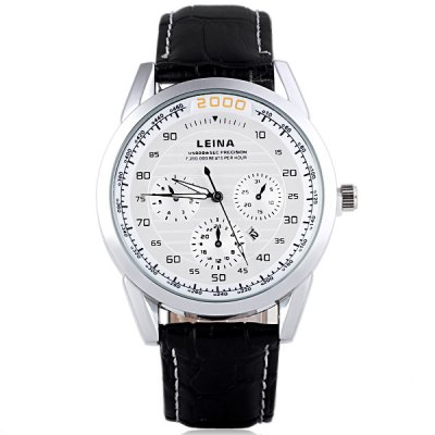 Гаджет   Water Resistant Stylish Men Watch Analog with Date Round Dial Genuine Leather Watch Band