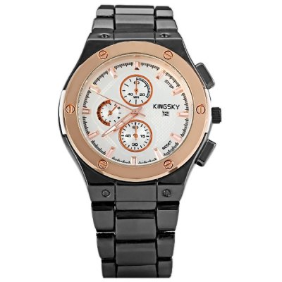 ФОТО Cool Men Wrist Watch Analog Display with Date Round Dial Stainless Steel Watch Band