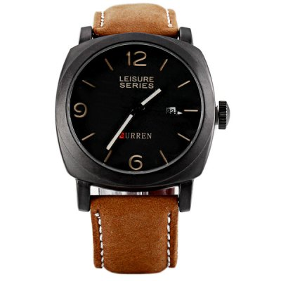 Curren Stylish Men Watch Analog with Date Round Dial Leather Watch Band