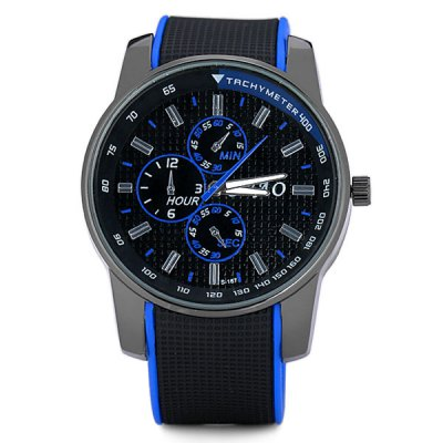 Cool Men Wrist Watch Analog with Round Dial Rubber Watch BandMens Watches<br>Cool Men Wrist Watch Analog with Round Dial Rubber Watch Band<br><br>Watches categories: Male table<br>Watch style: Fashion<br>Style elements: Big dial<br>Available color: Green, Orange, Yellow, White, Red, Blue<br>Movement type: Quartz watch<br>Shape of the dial: Round<br>Display type: Pointer<br>The bottom of the table: Ordinary<br>Watch-head: Ordinary<br>Case material: Stainless steel<br>Case color: Black<br>Band material: Rubber<br>Clasp type: Pin buckle<br>Band color: Blue<br>Special features: Decorating small three stitches<br>Water Resistance: Life waterproof<br>The dial thickness: 1.0 cm / 0.4 inch<br>The dial diameter: 4.3 cm / 1.7 inch<br>The band width: 2.2 cm / 0.9 inch<br>Product weight: 0.056 kg<br>Product size (L x W x H): 24.3 x 4.7 x 1.0 cm / 9.6 x 1.9 x 0.4 inches<br>Package Contents: 1 x Watch