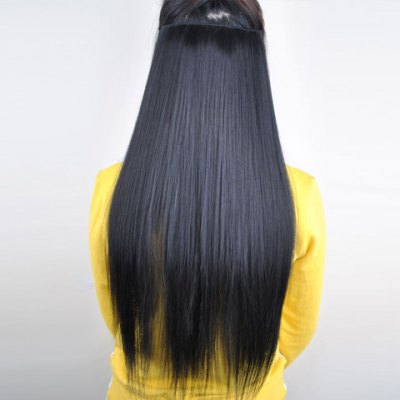 Pretty Black Overproof Long Straight High Temperature Fiber Women's Hair Extension