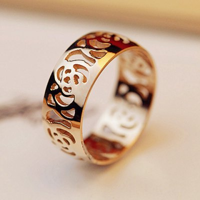 Characteristic Hollow Out Camellia Pattern Ring For Women